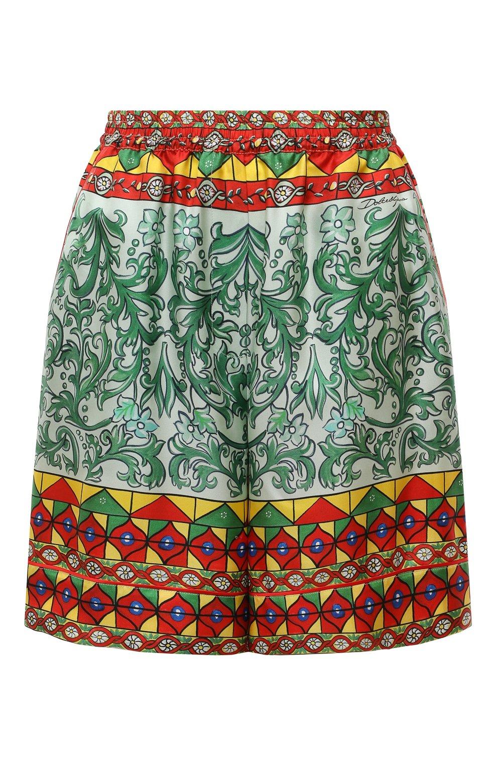 Женские шелковые шорты DOLCE & GABBANA разноцветного цвета, арт. FTAM7T/GDS12 | Фото 1 (Женское Кросс-КТ: Шорты-одежда; Материал внешний: Шелк; Стили: Гламурный; Длина Ж (юбки, платья, шорты): Мини)