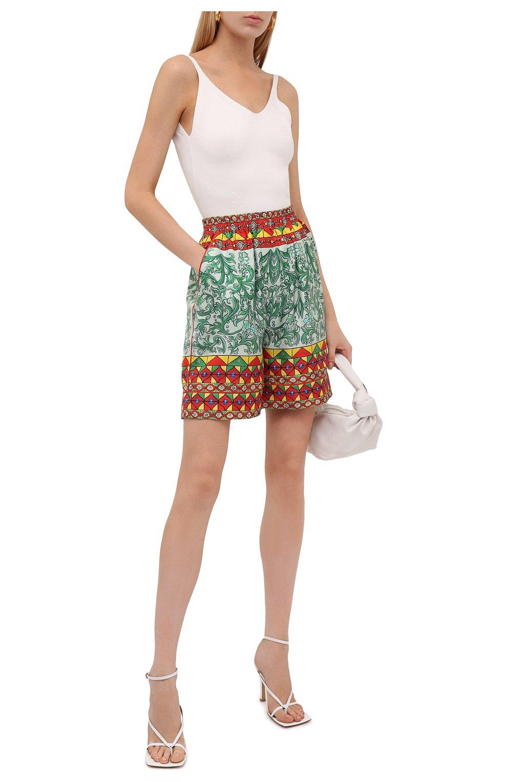 Женские шелковые шорты DOLCE & GABBANA разноцветного цвета, арт. FTAM7T/GDS12 | Фото 2 (Женское Кросс-КТ: Шорты-одежда; Материал внешний: Шелк; Стили: Гламурный; Длина Ж (юбки, платья, шорты): Мини)