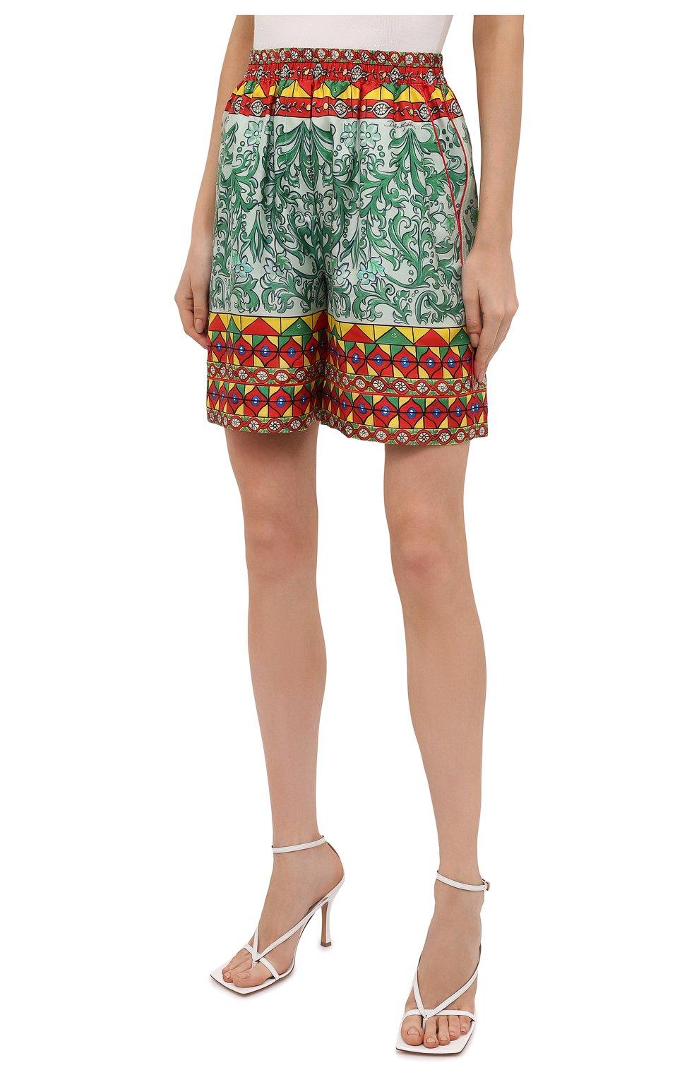 Женские шелковые шорты DOLCE & GABBANA разноцветного цвета, арт. FTAM7T/GDS12 | Фото 3 (Женское Кросс-КТ: Шорты-одежда; Материал внешний: Шелк; Стили: Гламурный; Длина Ж (юбки, платья, шорты): Мини)