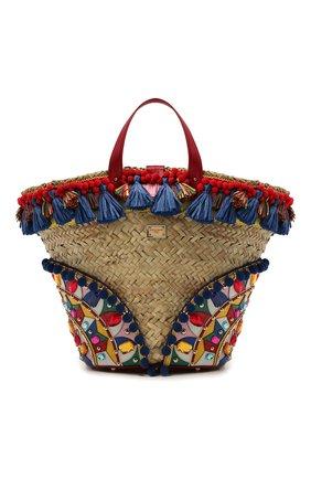 Женский сумка-тоут kendra DOLCE & GABBANA разноцветного цвета, арт. BB5888/AJ735   Фото 1 (Материал: Натуральная кожа, Растительное волокно; Сумки-технические: Сумки-шопперы; Ошибки технического описания: Нет ширины; Размер: medium)