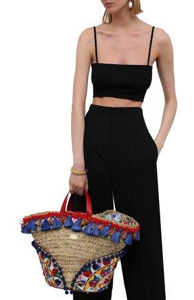 Женский сумка-тоут kendra DOLCE & GABBANA разноцветного цвета, арт. BB5888/AJ735   Фото 2 (Материал: Натуральная кожа, Растительное волокно; Сумки-технические: Сумки-шопперы; Ошибки технического описания: Нет ширины; Размер: medium)