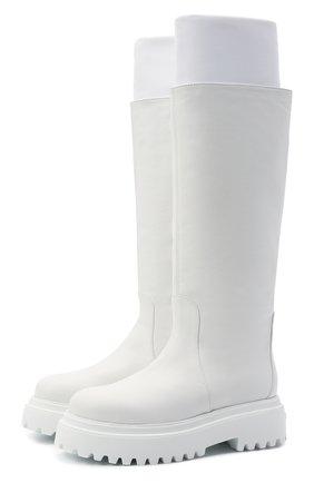 Женские кожаные сапоги stivale ranger LE SILLA белого цвета, арт. 6492T020M1PPCHI   Фото 1