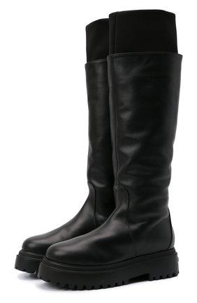 Женские кожаные сапоги stivale ranger LE SILLA черного цвета, арт. 6492T020M1MMCHI   Фото 1