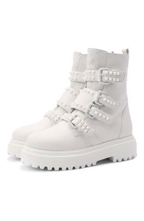 Женские кожаные ботинки ranger LE SILLA белого цвета, арт. 6490P020M2MMCHI   Фото 1