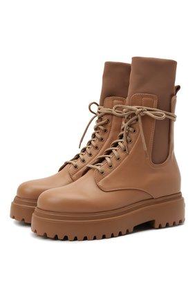 Женские кожаные ботинки ranger LE SILLA светло-коричневого цвета, арт. 6482R020M1PPCHI   Фото 1