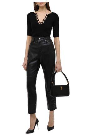 Женские брюки из экокожи NANUSHKA черного цвета, арт. NW20CRPA03599   Фото 2
