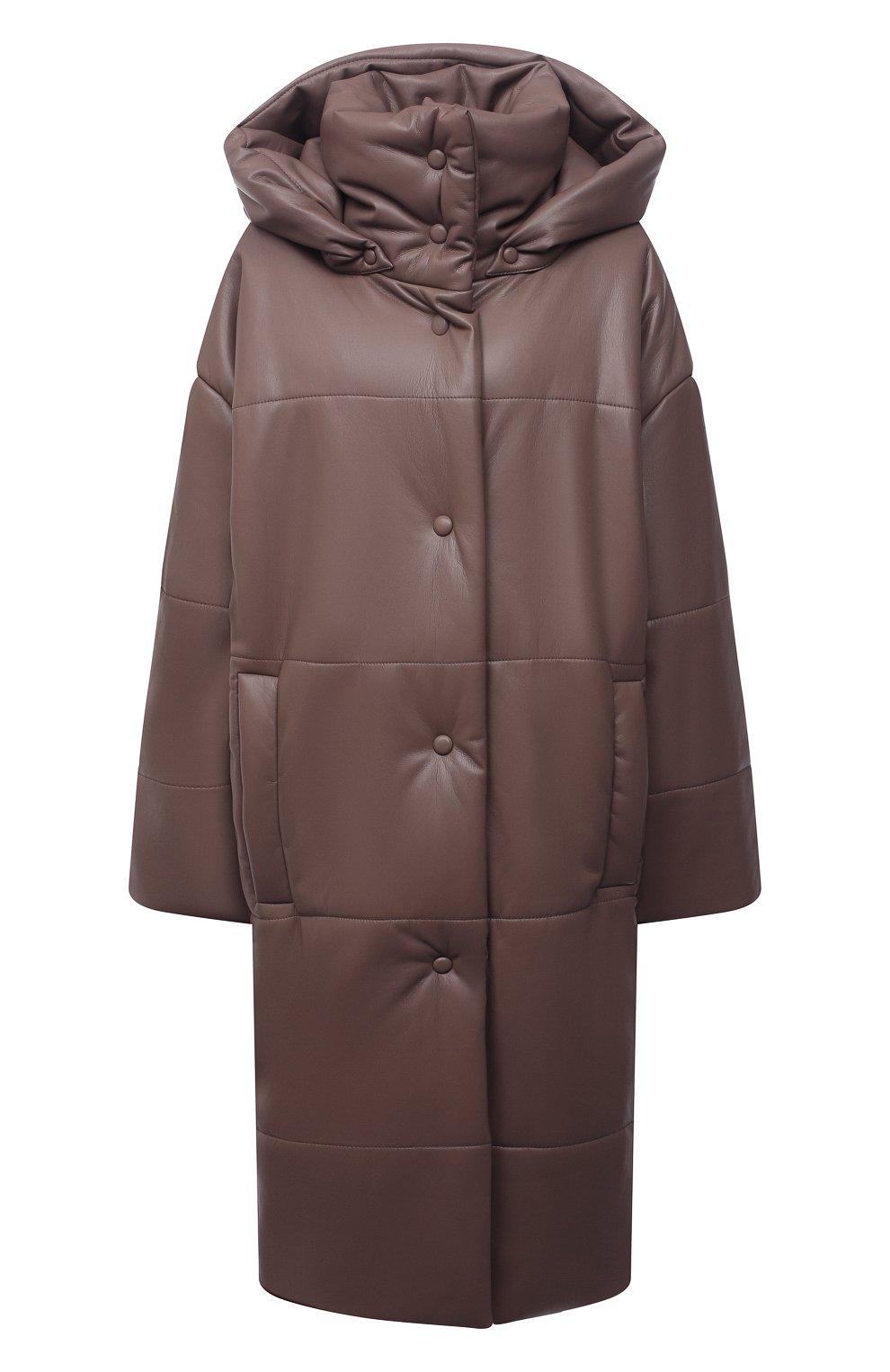 Женская утепленная куртка из экокожи NANUSHKA коричневого цвета, арт. NW21PF0W00995   Фото 1 (Кросс-КТ: Куртка; Рукава: Длинные; Стили: Гламурный; Длина (верхняя одежда): До колена; Материал внешний: Синтетический материал; Материал подклада: Вискоза)