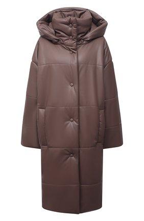 Женская утепленная куртка из экокожи NANUSHKA коричневого цвета, арт. NW21PF0W00995 | Фото 1 (Длина (верхняя одежда): До колена; Материал внешний: Синтетический материал; Кросс-КТ: Куртка; Рукава: Длинные; Материал подклада: Вискоза; Стили: Гламурный)