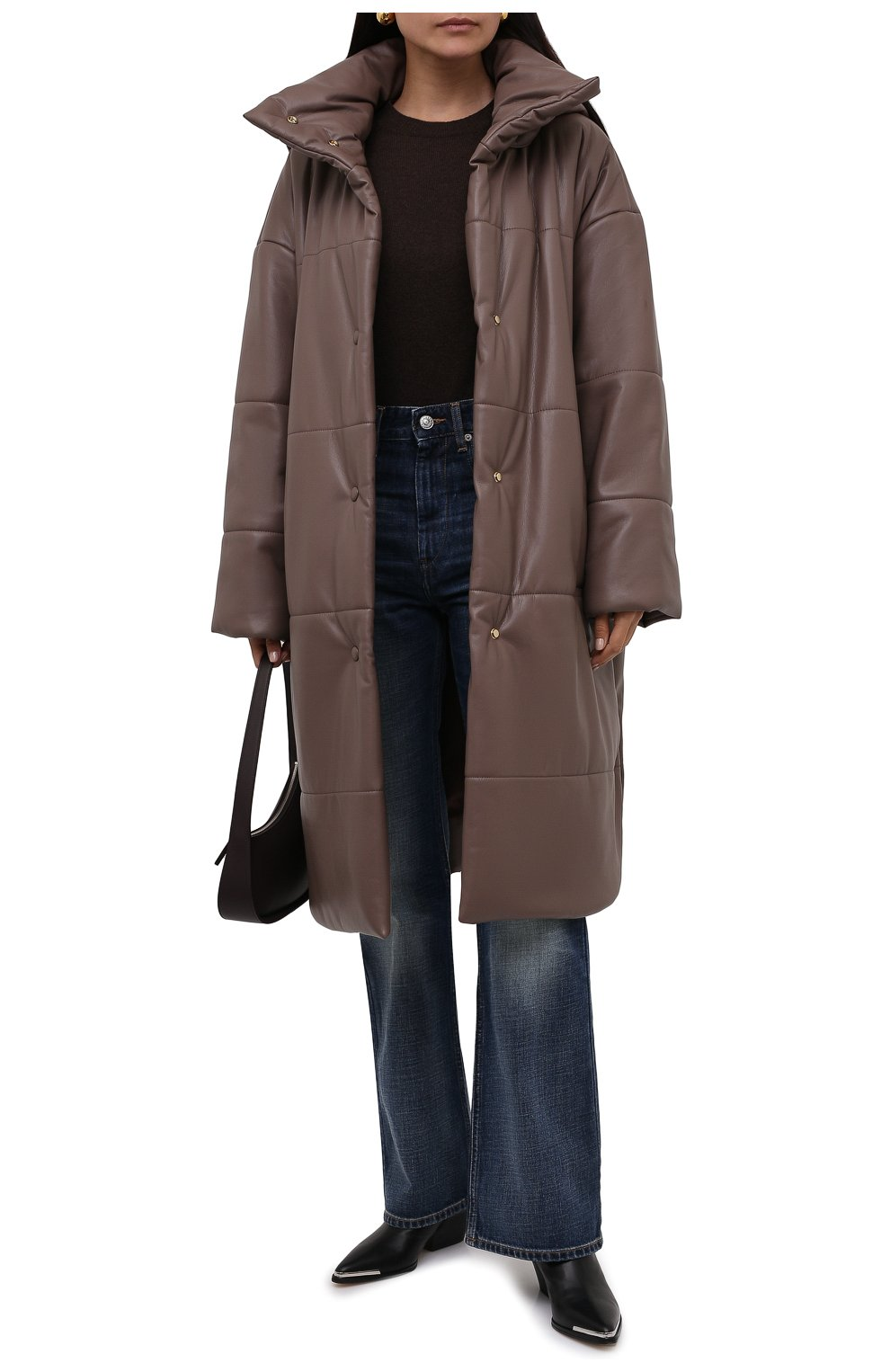 Женская утепленная куртка из экокожи NANUSHKA коричневого цвета, арт. NW21PF0W00995   Фото 2 (Кросс-КТ: Куртка; Рукава: Длинные; Стили: Гламурный; Длина (верхняя одежда): До колена; Материал внешний: Синтетический материал; Материал подклада: Вискоза)