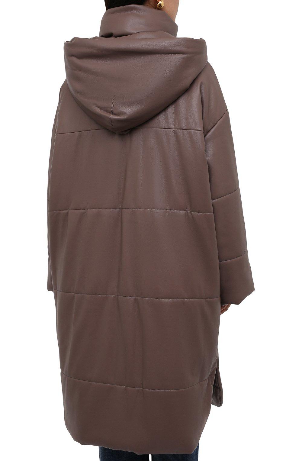 Женская утепленная куртка из экокожи NANUSHKA коричневого цвета, арт. NW21PF0W00995   Фото 4 (Кросс-КТ: Куртка; Рукава: Длинные; Стили: Гламурный; Длина (верхняя одежда): До колена; Материал внешний: Синтетический материал; Материал подклада: Вискоза)