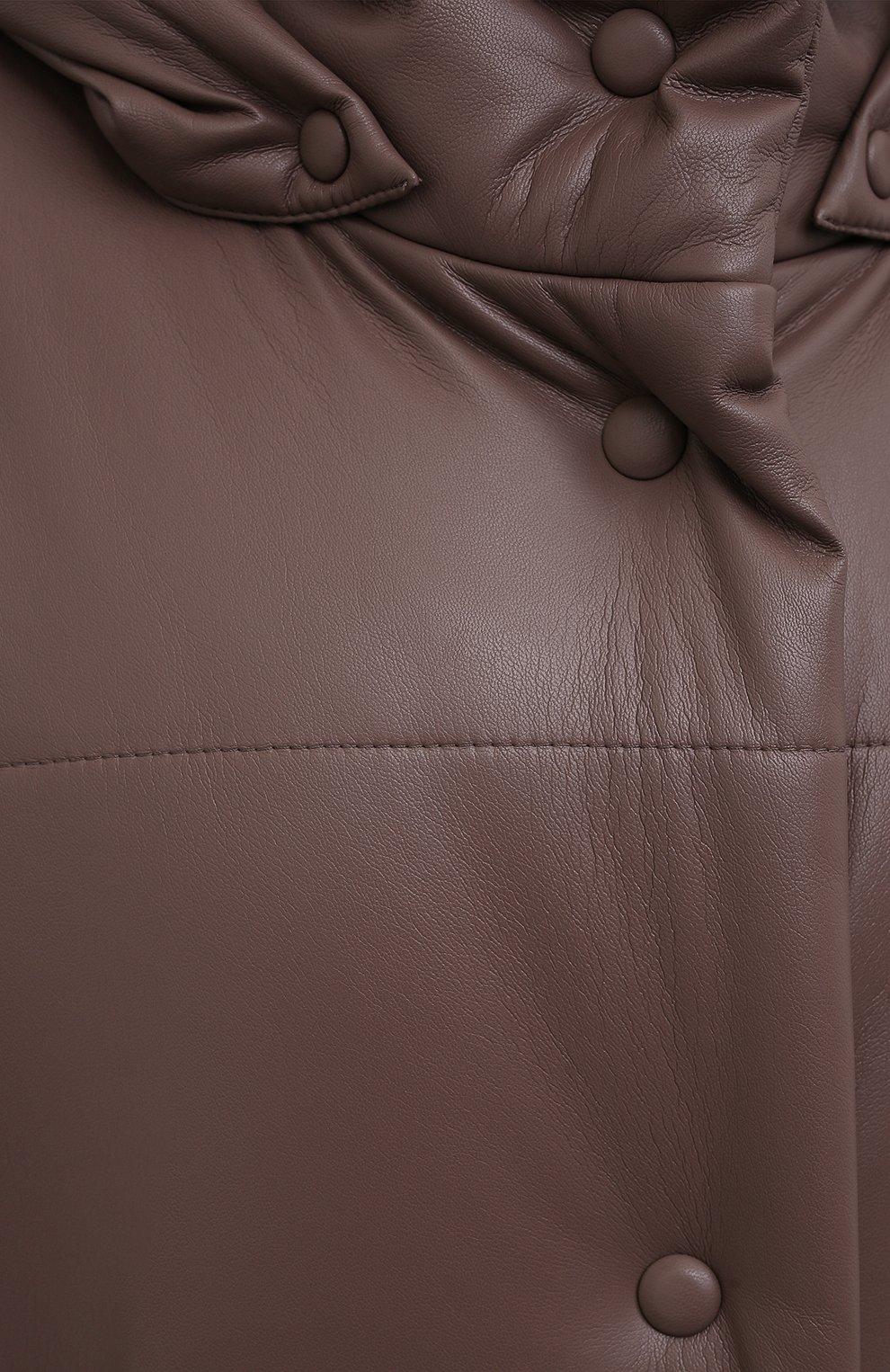 Женская утепленная куртка из экокожи NANUSHKA коричневого цвета, арт. NW21PF0W00995   Фото 5 (Кросс-КТ: Куртка; Рукава: Длинные; Стили: Гламурный; Длина (верхняя одежда): До колена; Материал внешний: Синтетический материал; Материал подклада: Вискоза)