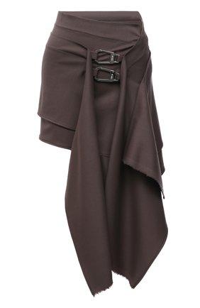 Женская шерстяная юбка THE ATTICO коричневого цвета, арт. 213WCS61/W027 | Фото 1