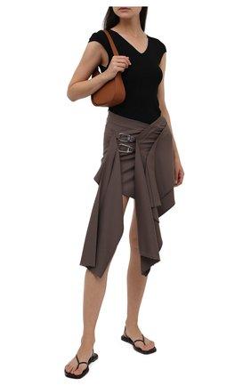 Женская шерстяная юбка THE ATTICO коричневого цвета, арт. 213WCS61/W027 | Фото 2