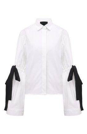 Женская хлопковая рубашка REDVALENTINO черно-белого цвета, арт. WR3ABG35/628 | Фото 1 (Материал внешний: Хлопок; Длина (для топов): Стандартные; Принт: Без принта; Рукава: Длинные; Стили: Романтичный; Женское Кросс-КТ: Рубашка-одежда)