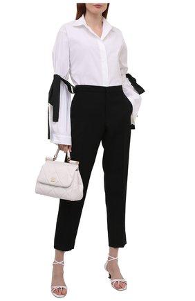 Женская хлопковая рубашка REDVALENTINO черно-белого цвета, арт. WR3ABG35/628 | Фото 2 (Материал внешний: Хлопок; Длина (для топов): Стандартные; Принт: Без принта; Рукава: Длинные; Стили: Романтичный; Женское Кросс-КТ: Рубашка-одежда)