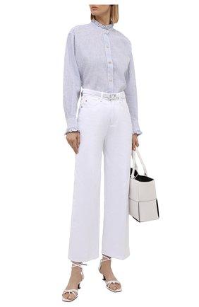 Женская рубашка из хлопка и льна ISABEL MARANT ETOILE голубого цвета, арт. CH0673-21A021E/SA0LI   Фото 2
