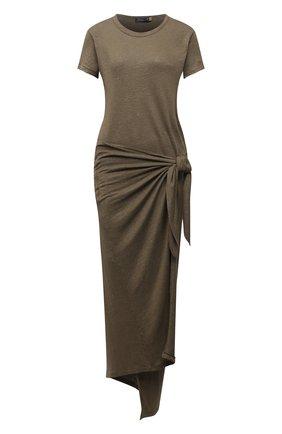 Женское льняное платье POLO RALPH LAUREN хаки цвета, арт. 211838162 | Фото 1 (Материал внешний: Лен; Случай: Повседневный; Стили: Кэжуэл; Рукава: Короткие; Длина Ж (юбки, платья, шорты): Миди; Женское Кросс-КТ: Платье-одежда; Кросс-КТ: Трикотаж)