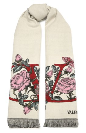 Женский шерстяной шарф VALENTINO кремвого цвета, арт. WW2ER027/FLW | Фото 1