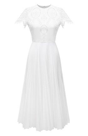 Женское хлопковое платье VALENTINO белого цвета, арт. WB3VAWG06HB   Фото 1