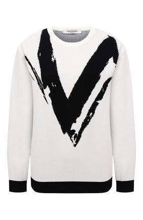 Женский пуловер из вискозы VALENTINO белого цвета, арт. WB3KCC226HN | Фото 1 (Длина (для топов): Стандартные; Женское Кросс-КТ: Пуловер-одежда; Стили: Романтичный; Рукава: Длинные; Материал внешний: Вискоза)