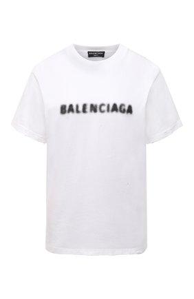 Женская хлопковая футболка BALENCIAGA белого цвета, арт. 661705/TKVD5 | Фото 1 (Материал внешний: Хлопок; Длина (для топов): Стандартные; Стили: Спорт-шик; Рукава: Короткие; Женское Кросс-КТ: Футболка-одежда; Принт: С принтом)