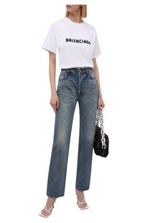 Женская хлопковая футболка BALENCIAGA белого цвета, арт. 661705/TKVD5 | Фото 2 (Материал внешний: Хлопок; Длина (для топов): Стандартные; Стили: Спорт-шик; Рукава: Короткие; Женское Кросс-КТ: Футболка-одежда; Принт: С принтом)