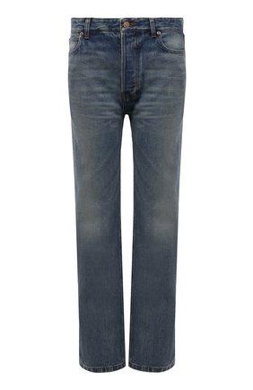 Женские джинсы BALENCIAGA тёмно-голубого цвета, арт. 657646/TDW14 | Фото 1 (Длина (брюки, джинсы): Стандартные; Материал внешний: Хлопок; Силуэт Ж (брюки и джинсы): Прямые; Стили: Спорт-шик; Кросс-КТ: Деним)