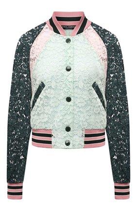 Женский хлопковый бомбер DOLCE & GABBANA разноцветного цвета, арт. F9J71T/FLMY1 | Фото 1 (Материал внешний: Хлопок; Длина (верхняя одежда): Короткие; Стили: Спорт-шик; Кросс-КТ: Куртка; Рукава: Длинные)