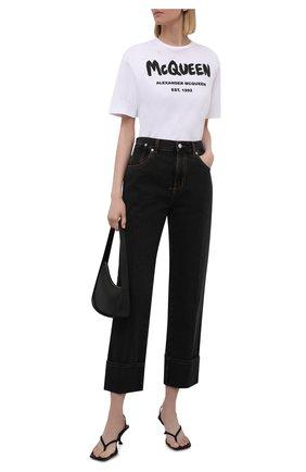 Женская хлопковая футболка ALEXANDER MCQUEEN белого цвета, арт. 668428/QZADK   Фото 2 (Длина (для топов): Стандартные; Материал внешний: Хлопок; Рукава: Короткие; Стили: Спорт-шик; Женское Кросс-КТ: Футболка-одежда; Принт: С принтом)