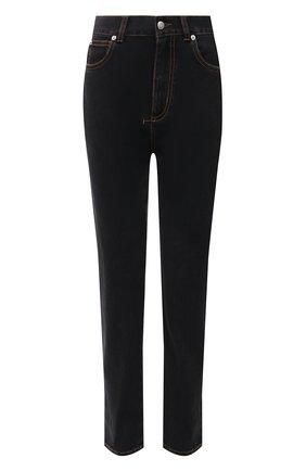 Женские джинсы ALEXANDER MCQUEEN темно-серого цвета, арт. 667197/QMABI   Фото 1 (Материал внешний: Хлопок; Длина (брюки, джинсы): Стандартные; Силуэт Ж (брюки и джинсы): Слим; Стили: Спорт-шик; Кросс-КТ: Деним)