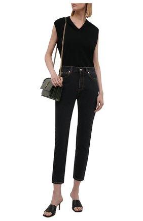 Женские джинсы ALEXANDER MCQUEEN темно-серого цвета, арт. 667197/QMABI   Фото 2 (Материал внешний: Хлопок; Длина (брюки, джинсы): Стандартные; Силуэт Ж (брюки и джинсы): Слим; Стили: Спорт-шик; Кросс-КТ: Деним)