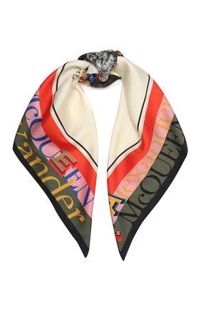 Женский шелковый платок ALEXANDER MCQUEEN кремвого цвета, арт. 667076/3001Q | Фото 1