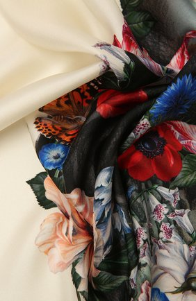 Женский шелковый платок ALEXANDER MCQUEEN кремвого цвета, арт. 667076/3001Q | Фото 2