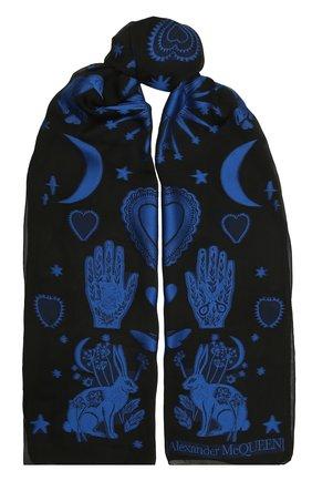 Женский шелковый шарф ALEXANDER MCQUEEN черного цвета, арт. 665495/3D40Q | Фото 1