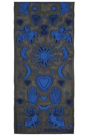 Женский шелковый шарф ALEXANDER MCQUEEN черного цвета, арт. 665495/3D40Q | Фото 2