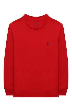 Детская хлопковый лонгслив POLO RALPH LAUREN красного цвета, арт. 323843804 | Фото 1