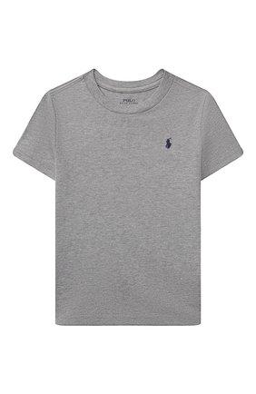 Детская хлопковая футболка POLO RALPH LAUREN серого цвета, арт. 321832904 | Фото 1