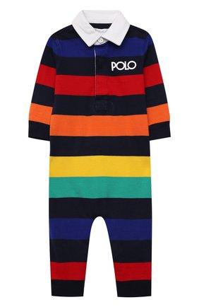 Детский хлопковый комбинезон POLO RALPH LAUREN разноцветного цвета, арт. 320844914 | Фото 1