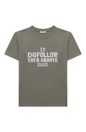 Детская хлопковая футболка DOLCE & GABBANA хаки цвета, арт. L4JT9A/G7A4C/8-14   Фото 1