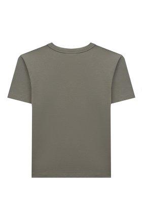 Детская хлопковая футболка DOLCE & GABBANA хаки цвета, арт. L4JT9A/G7A4C/2-6 | Фото 2 (Материал внешний: Хлопок; Рукава: Короткие; Принт: С принтом; Ростовка одежда: 2 года | 92 см, 3 года | 98 см, 4 года | 104 см, 5 лет | 110 см, 6 лет | 116 см)