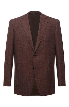 Мужской шерстяной пиджак BRIONI коричневого цвета, арт. RG0J0L/01A0R/BRUNIC0 | Фото 1 (Длина (для топов): Стандартные; Материал внешний: Шерсть; Случай: Коктейльный; Пиджаки М: Прямой; Рукава: Длинные; 1-2-бортные: Однобортные; Материал подклада: Купро; Стили: Классический)