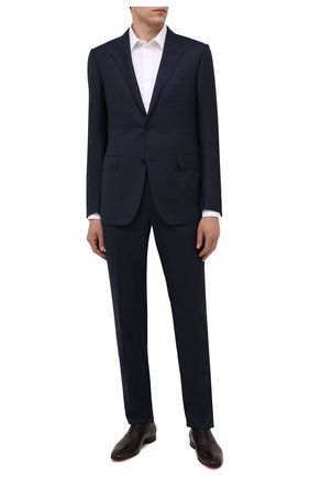 Мужской костюм из шерсти и шелка ERMENEGILDO ZEGNA темно-синего цвета, арт. 216519/221225 | Фото 1