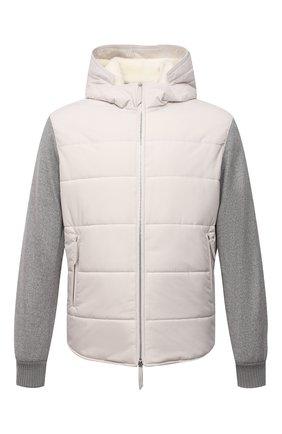 Мужская куртка с меховой подкладкой ANDREA CAMPAGNA белого цвета, арт. 00800H9RD2900 | Фото 1 (Материал внешний: Синтетический материал; Длина (верхняя одежда): Короткие; Материал подклада: Шелк; Кросс-КТ: Куртка; Мужское Кросс-КТ: пуховик-короткий; Рукава: Длинные)