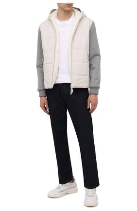 Мужская куртка с меховой подкладкой ANDREA CAMPAGNA белого цвета, арт. 00800H9RD2900 | Фото 2 (Материал внешний: Синтетический материал; Длина (верхняя одежда): Короткие; Материал подклада: Шелк; Кросс-КТ: Куртка; Мужское Кросс-КТ: пуховик-короткий; Рукава: Длинные)