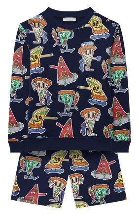 Детского комплект из свитшота и шорт STELLA MCCARTNEY темно-синего цвета, арт. 603378/SQJ47 | Фото 1