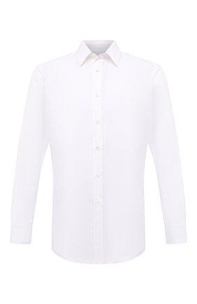 Мужская хлопковая сорочка BRIONI белого цвета, арт. RCT40L/PZ017 | Фото 1 (Материал внешний: Хлопок; Длина (для топов): Стандартные; Случай: Формальный; Воротник: Кент; Стили: Классический; Рукава: Длинные; Рубашки М: Slim Fit; Принт: Однотонные; Манжеты: На пуговицах)