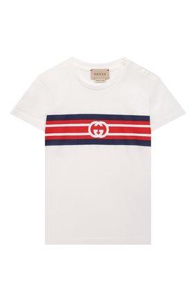 Детская хлопковая футболка GUCCI белого цвета, арт. 561651/XJDKV   Фото 1