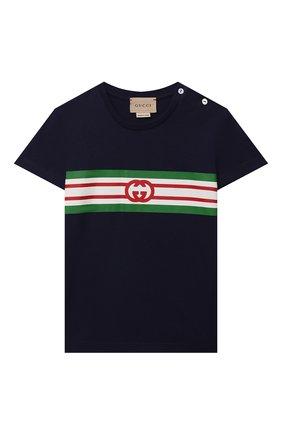 Детская хлопковая футболка GUCCI синего цвета, арт. 561651/XJDKV | Фото 1
