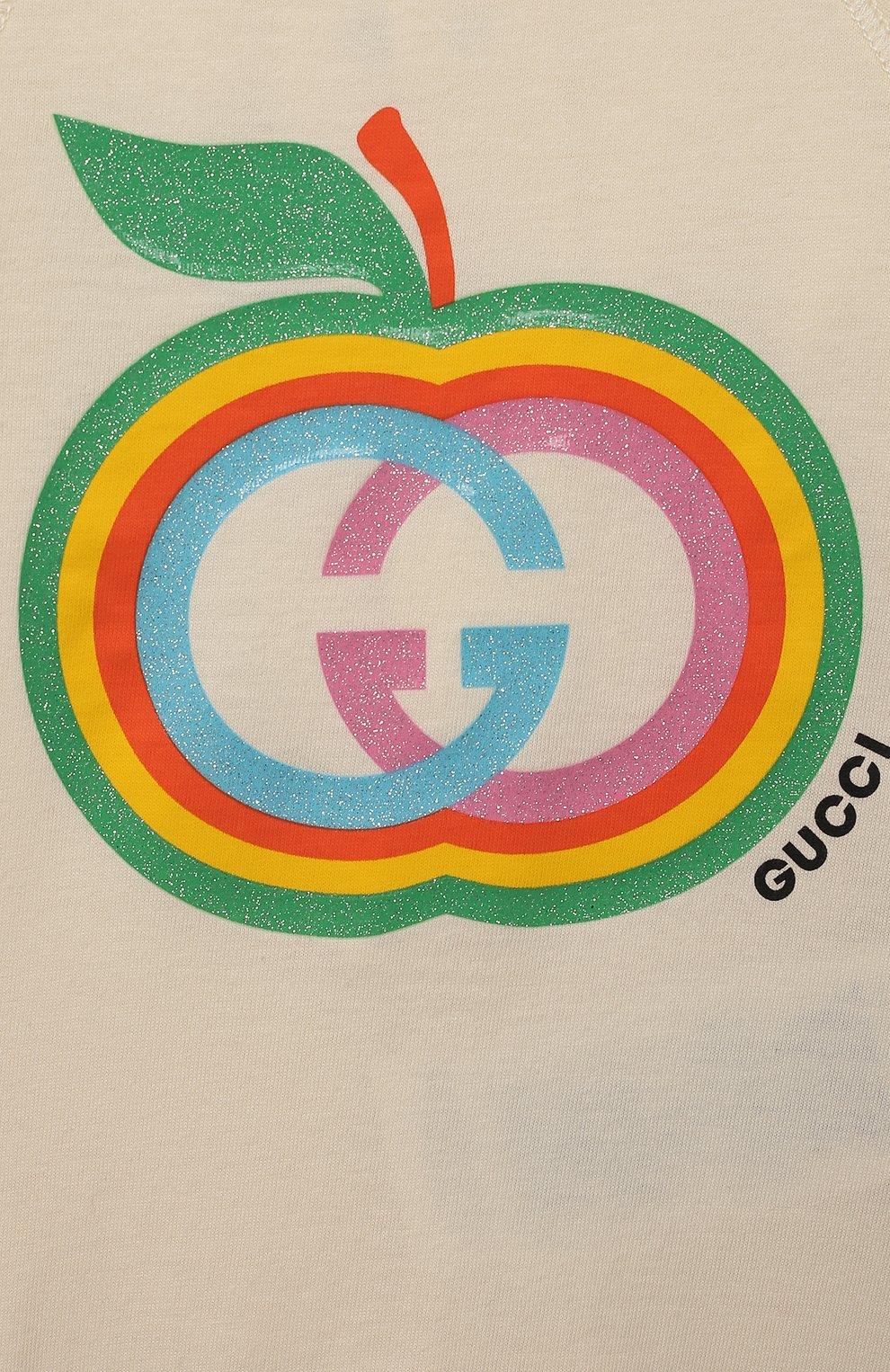 Детского комплект из трех предметов GUCCI кремвого цвета, арт. 663519/XJDNR   Фото 8 (Ростовка одежда: 0 - 3 мес   50 - 60 см, 3 мес   62 см, 9 мес   74 см)