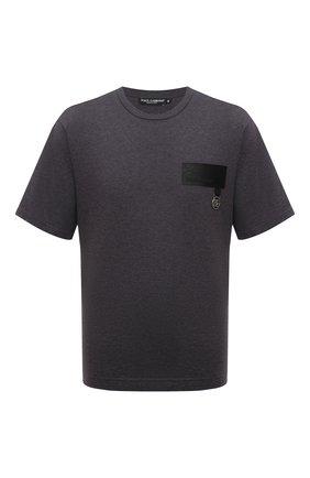 Мужская хлопковая футболка DOLCE & GABBANA темно-серого цвета, арт. G8NC5Z/G7A2H | Фото 1